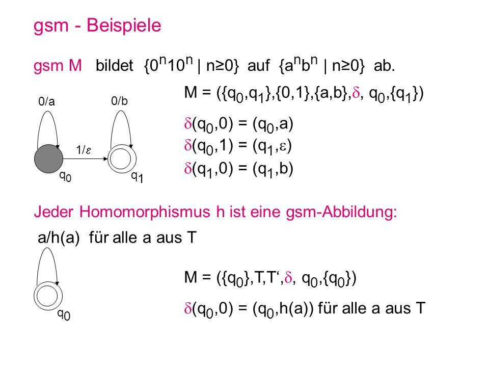gsm - Beispiele gsm M bildet {0 n 10 n | n0} auf {a n b n | n0} ab. q0q0 q1q1 0/b 1/ 0/a q0q0 a/h(a) für alle a aus T Jeder Homomorphismus h ist eine