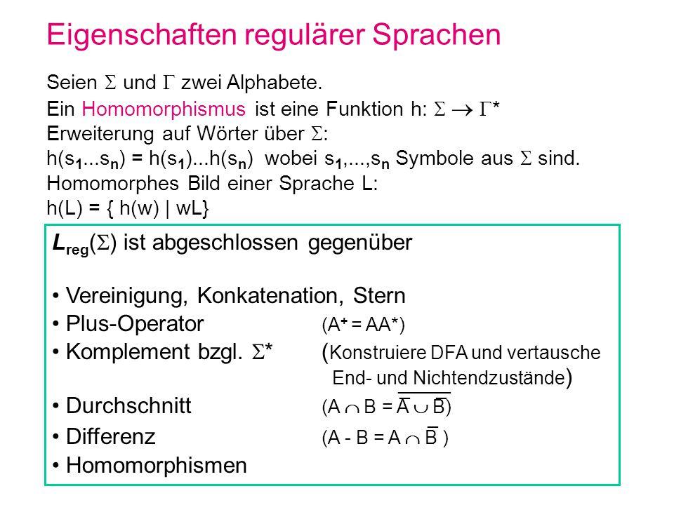 Eigenschaften regulärer Sprachen Seien und zwei Alphabete. Ein Homomorphismus ist eine Funktion h: * Erweiterung auf Wörter über : h(s 1...s n ) = h(s