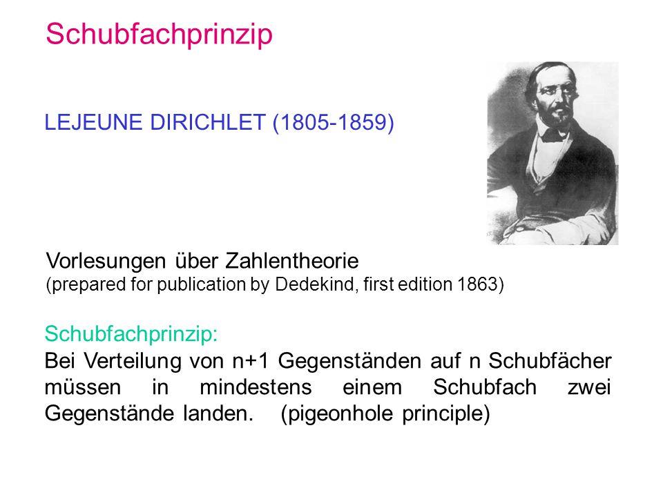Schubfachprinzip LEJEUNE DIRICHLET (1805-1859) Vorlesungen über Zahlentheorie (prepared for publication by Dedekind, first edition 1863) Schubfachprin