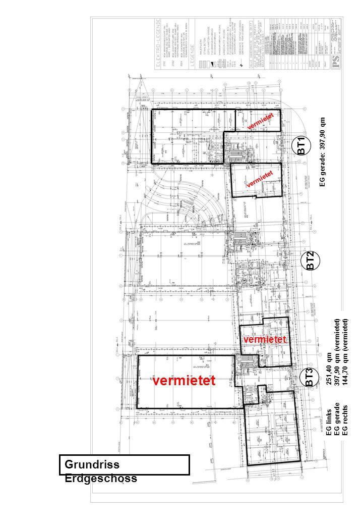 Grundriss Erdgeschoss EG gerade: 397,90 qm EG links 251,40 qm EG gerade 397,90 qm (vermietet) EG rechts 144,70 qm (vermietet) BT1 BT2 BT3 vermietet