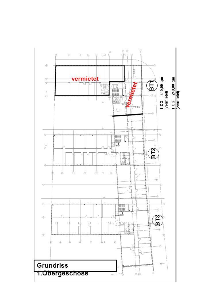 Grundriss 1.Obergeschoss 1.OG 410,00 qm (vermietet) 1.OG 240,00 qm (vermietet) BT1 BT2 BT3 vermietet
