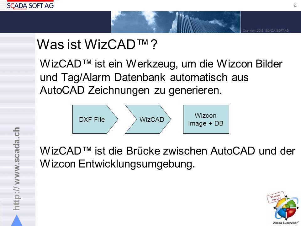 http:// www.scada.ch 2 Copyright 2005 SCADA SOFT AG WizCAD ist ein Werkzeug, um die Wizcon Bilder und Tag/Alarm Datenbank automatisch aus AutoCAD Zeichnungen zu generieren.