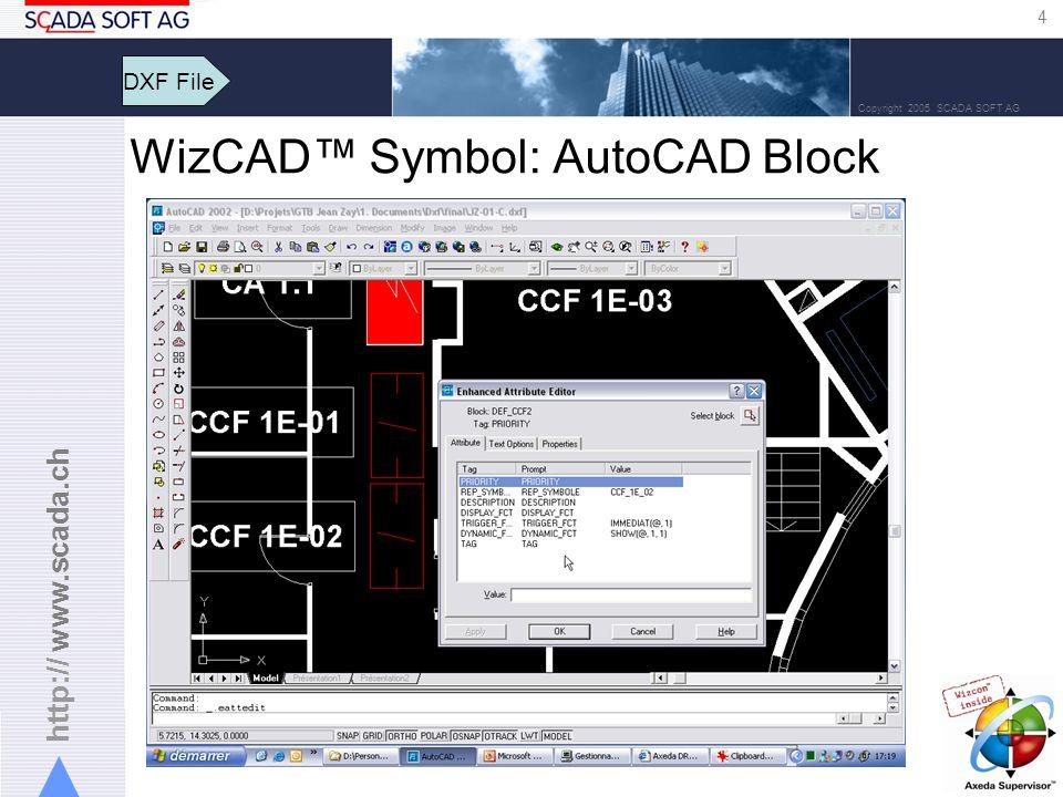 http:// www.scada.ch 4 Copyright 2005 SCADA SOFT AG DXF File WizCAD Symbol: AutoCAD Block