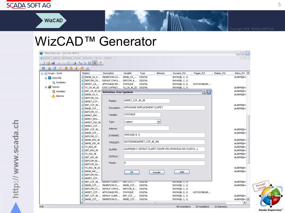 http:// www.scada.ch 5 Copyright 2005 SCADA SOFT AG WizCAD Generator WizCAD