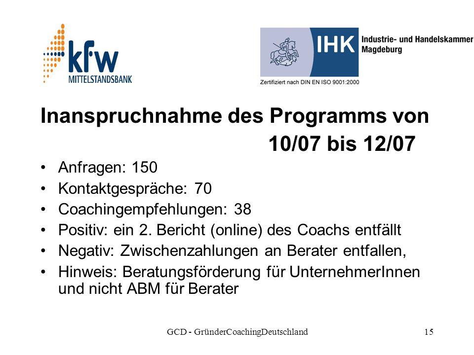 GCD - GründerCoachingDeutschland15 Inanspruchnahme des Programms von 10/07 bis 12/07 Anfragen: 150 Kontaktgespräche: 70 Coachingempfehlungen: 38 Positiv: ein 2.