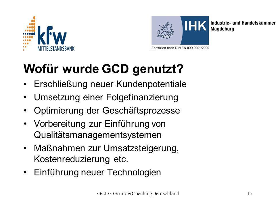 GCD - GründerCoachingDeutschland17 Wofür wurde GCD genutzt.