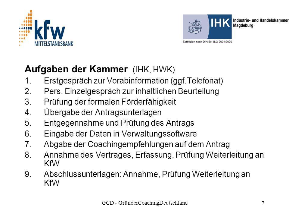 GCD - GründerCoachingDeutschland7 Aufgaben der Kammer (IHK, HWK) 1.Erstgespräch zur Vorabinformation (ggf.Telefonat) 2.Pers.