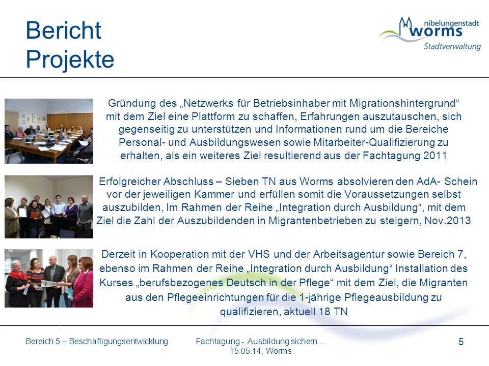 Bereich 5 – Beschäftigungsentwicklung 5 Bericht Projekte Gründung des Netzwerks für Betriebsinhaber mit Migrationshintergrund mit dem Ziel eine Plattf