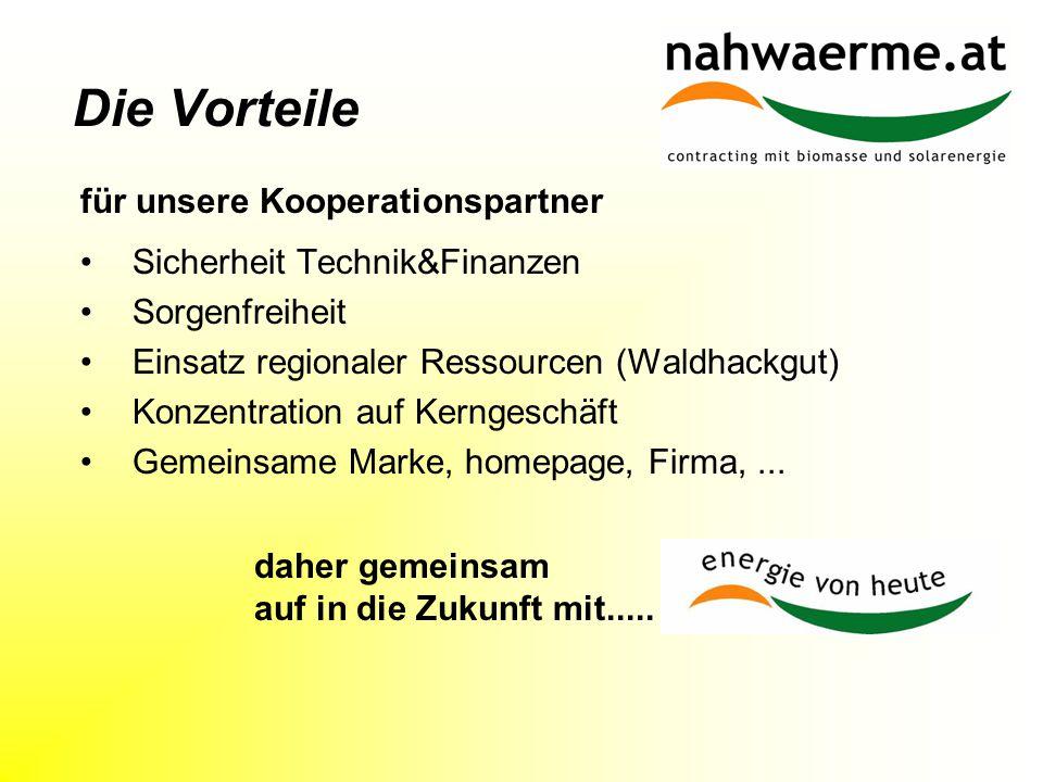 Die Vorteile Sicherheit Technik&Finanzen Sorgenfreiheit Einsatz regionaler Ressourcen (Waldhackgut) Konzentration auf Kerngeschäft Gemeinsame Marke, homepage, Firma,...