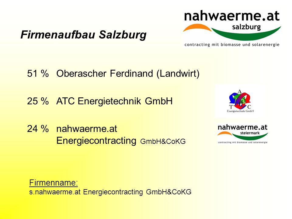 Firmenaufbau Salzburg 25 % ATC Energietechnik GmbH 51 % Oberascher Ferdinand (Landwirt) 24 % nahwaerme.at Energiecontracting GmbH&CoKG Firmenname: s.nahwaerme.at Energiecontracting GmbH&CoKG