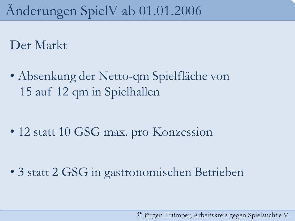 © Jürgen Trümper, Arbeitskreis gegen Spielsucht e.V. Änderungen SpielV ab 01.01.2006 Der Markt Absenkung der Netto-qm Spielfläche von 15 auf 12 qm in