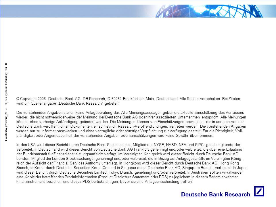 \Frank\Vortraege\Freiburg_28. Juni 06, Demografische Entwicklung; Seite 14 © Copyright 2006. Deutsche Bank AG, DB Research, D-60262 Frankfurt am Main,