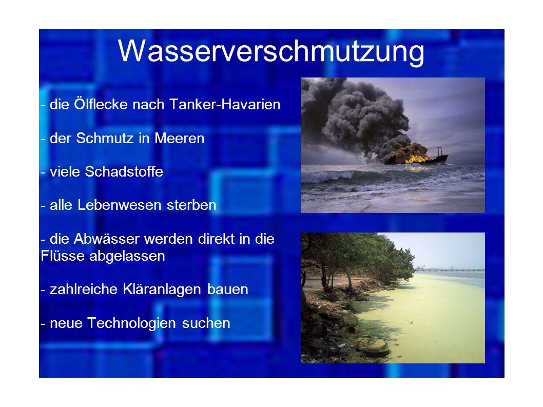 Wasserverschmutzung - die Ölflecke nach Tanker-Havarien - der Schmutz in Meeren - viele Schadstoffe - alle Lebenwesen sterben - die Abwässer werden di