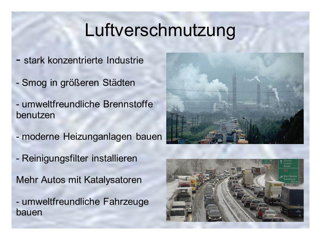 Luftverschmutzung - stark konzentrierte Industrie - Smog in größeren Städten - umweltfreundliche Brennstoffe benutzen - moderne Heizunganlagen bauen -