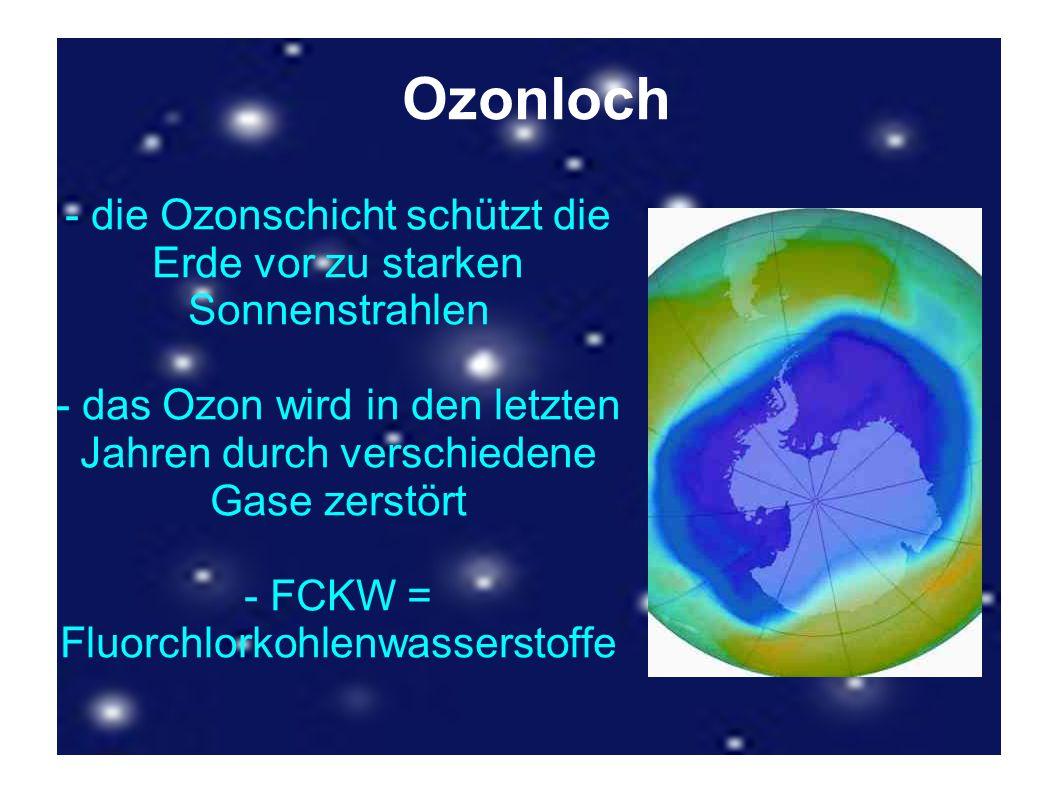 Ozonloch - die Ozonschicht schützt die Erde vor zu starken Sonnenstrahlen - das Ozon wird in den letzten Jahren durch verschiedene Gase zerstört - FCK
