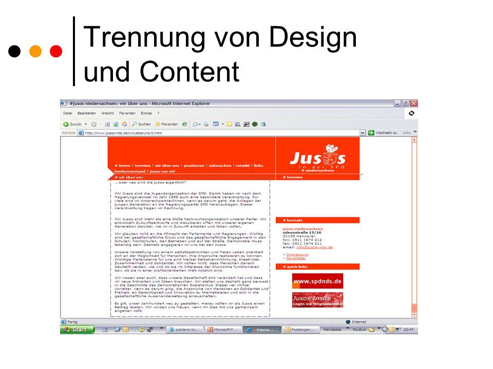 Trennung von Design und Content