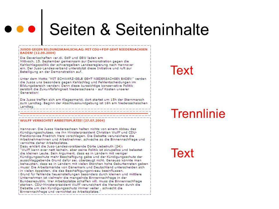 Seiten & Seiteninhalte Text Trennlinie