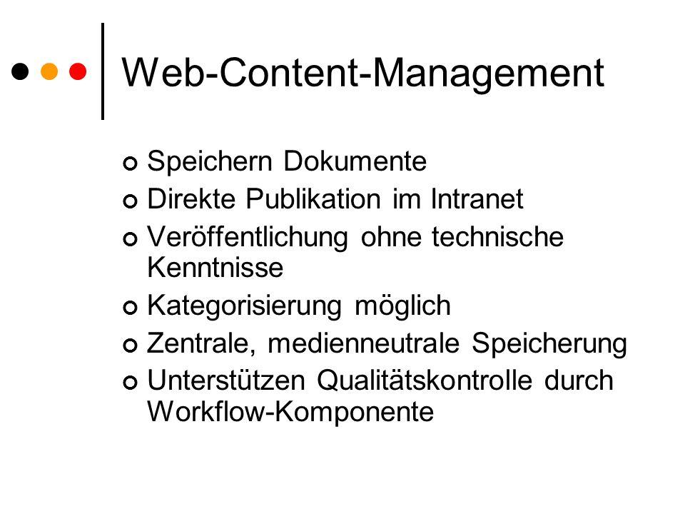 Web-Content-Management Speichern Dokumente Direkte Publikation im Intranet Veröffentlichung ohne technische Kenntnisse Kategorisierung möglich Zentrale, medienneutrale Speicherung Unterstützen Qualitätskontrolle durch Workflow-Komponente