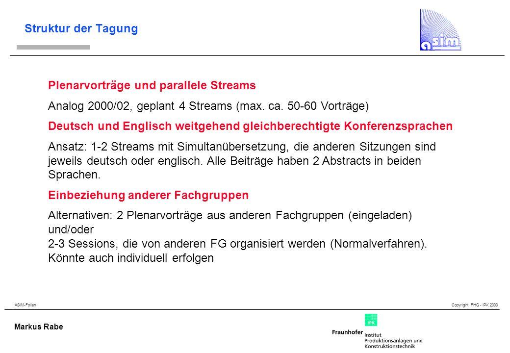 ASIM-Folien Copyright FHG - IPK 2003 Markus Rabe Struktur der Tagung Plenarvorträge und parallele Streams Analog 2000/02, geplant 4 Streams (max.
