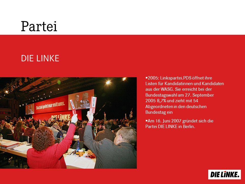 Partei DIE LINKE 2005: Linkspartei.PDS öffnet ihre Listen für Kandidatinnen und Kandidaten aus der WASG. Sie erreicht bei der Bundestagswahl am 27. Se