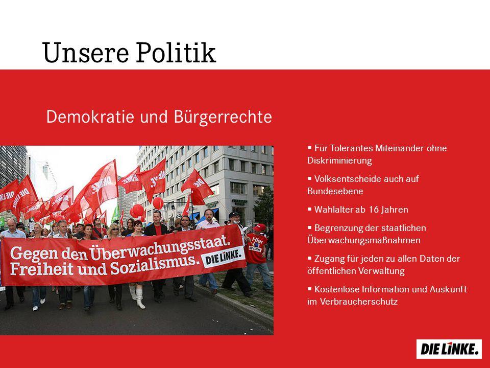 Demokratie und Bürgerrechte Unsere Politik Für Tolerantes Miteinander ohne Diskriminierung Volksentscheide auch auf Bundesebene Wahlalter ab 16 Jahren