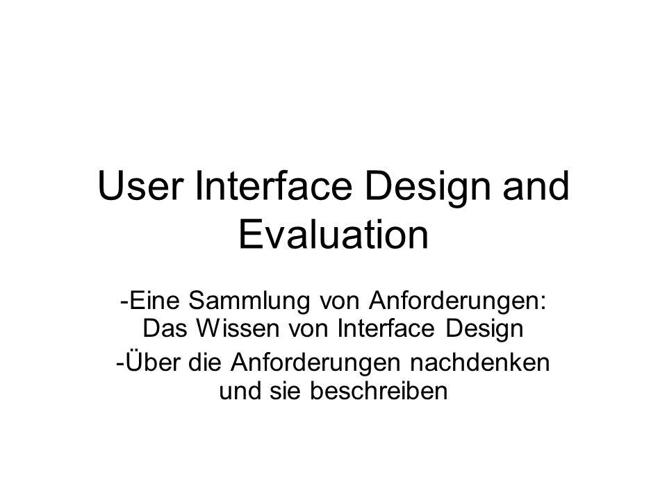 User Interface Design and Evaluation -Eine Sammlung von Anforderungen: Das Wissen von Interface Design -Über die Anforderungen nachdenken und sie beschreiben
