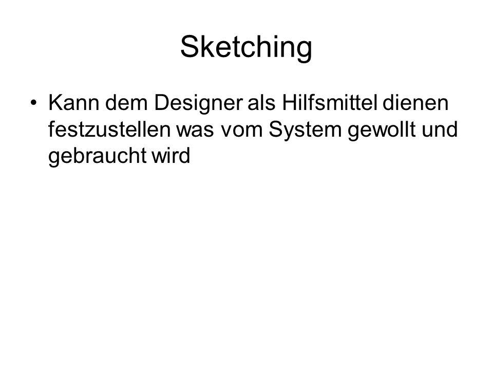Sketching Kann dem Designer als Hilfsmittel dienen festzustellen was vom System gewollt und gebraucht wird