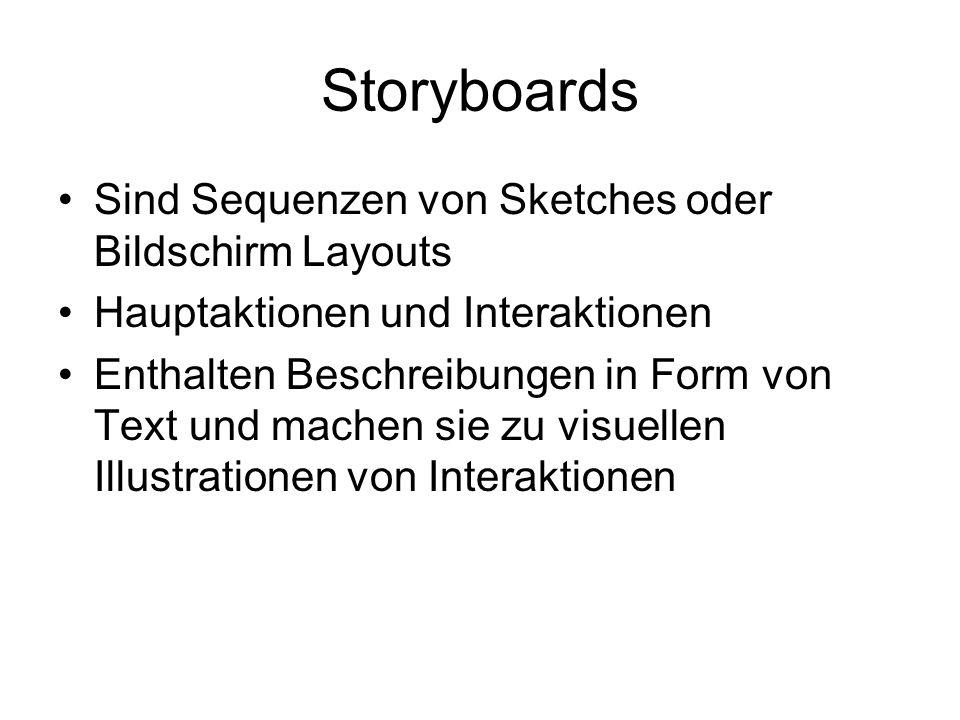 Storyboards Sind Sequenzen von Sketches oder Bildschirm Layouts Hauptaktionen und Interaktionen Enthalten Beschreibungen in Form von Text und machen sie zu visuellen Illustrationen von Interaktionen