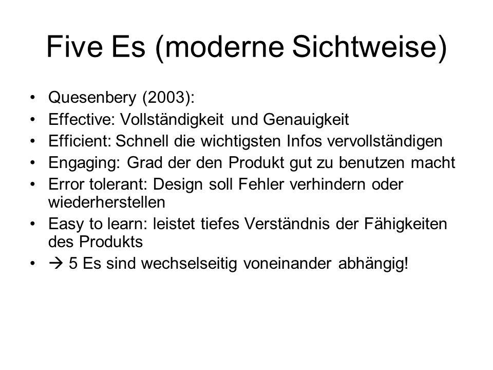 Five Es (moderne Sichtweise) Quesenbery (2003): Effective: Vollständigkeit und Genauigkeit Efficient: Schnell die wichtigsten Infos vervollständigen E