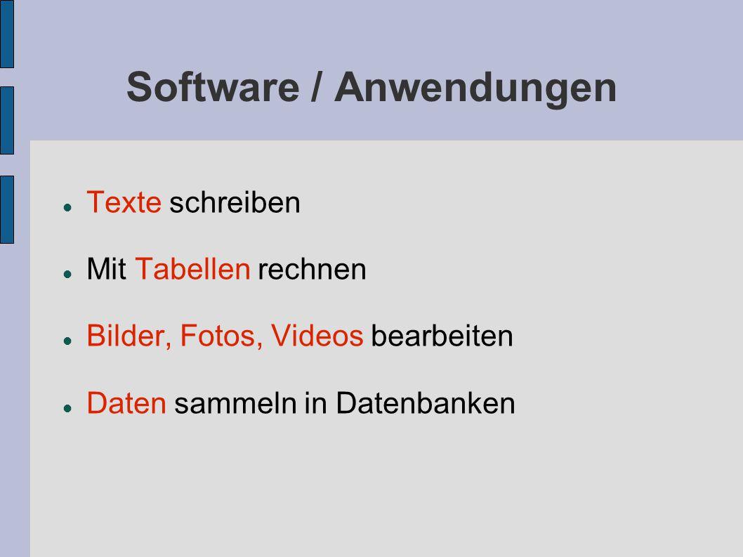 Software / Anwendungen Texte schreiben Mit Tabellen rechnen Bilder, Fotos, Videos bearbeiten Daten sammeln in Datenbanken