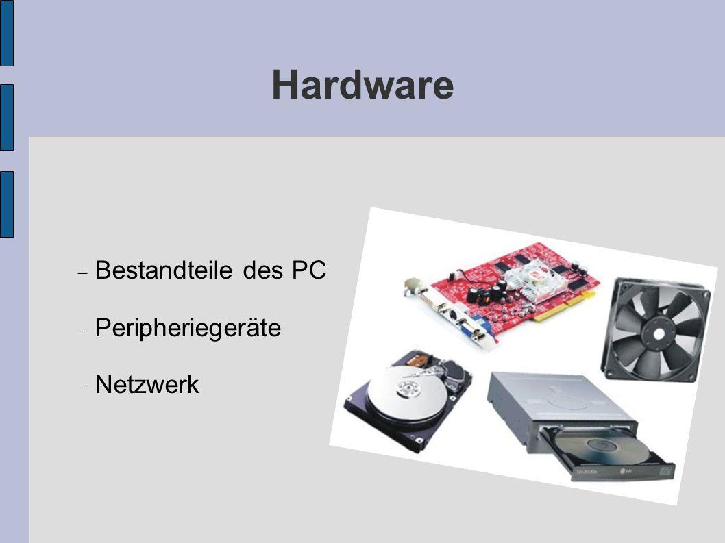 Hardware Bestandteile des PC Peripheriegeräte Netzwerk