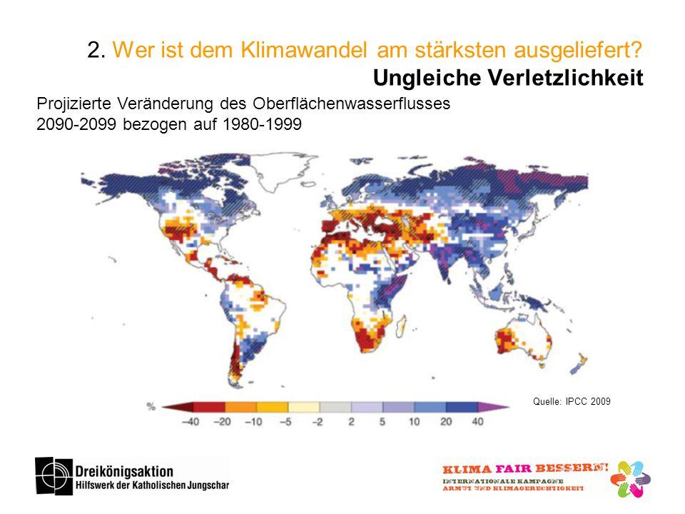 Projizierte Veränderung des Oberflächenwasserflusses 2090-2099 bezogen auf 1980-1999 Quelle: IPCC 2009