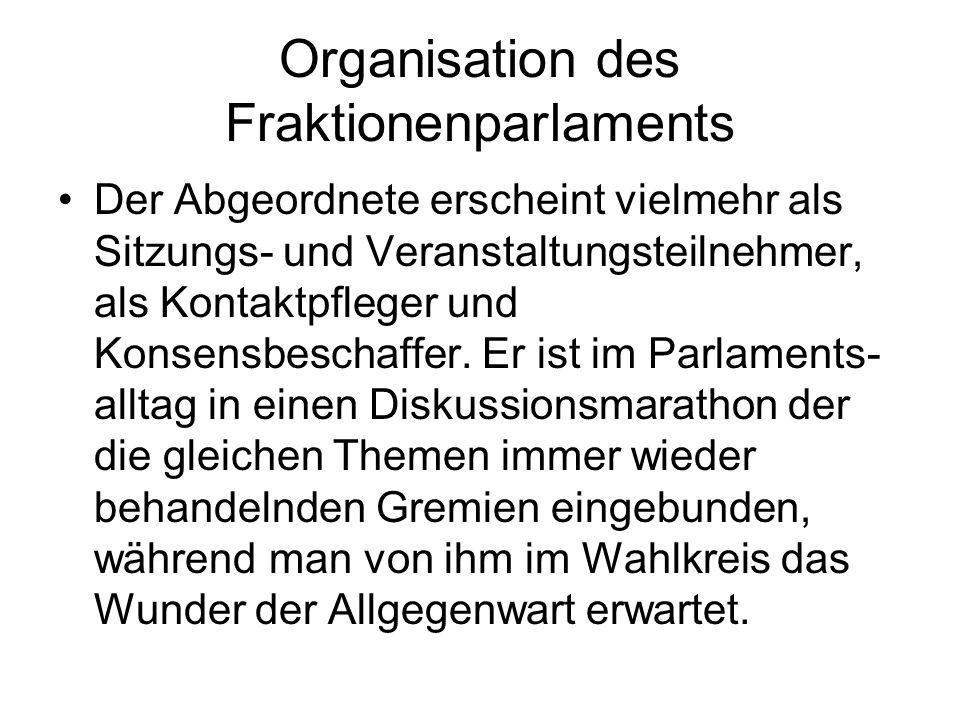 Organisation des Fraktionenparlaments Der Abgeordnete erscheint vielmehr als Sitzungs- und Veranstaltungsteilnehmer, als Kontaktpfleger und Konsensbeschaffer.
