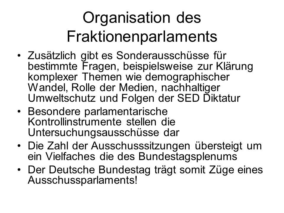 Organisation des Fraktionenparlaments Zusätzlich gibt es Sonderausschüsse für bestimmte Fragen, beispielsweise zur Klärung komplexer Themen wie demographischer Wandel, Rolle der Medien, nachhaltiger Umweltschutz und Folgen der SED Diktatur Besondere parlamentarische Kontrollinstrumente stellen die Untersuchungsausschüsse dar Die Zahl der Ausschusssitzungen übersteigt um ein Vielfaches die des Bundestagsplenums Der Deutsche Bundestag trägt somit Züge eines Ausschussparlaments!