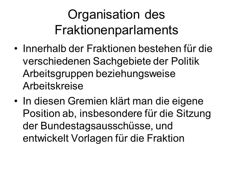 Organisation des Fraktionenparlaments Innerhalb der Fraktionen bestehen für die verschiedenen Sachgebiete der Politik Arbeitsgruppen beziehungsweise Arbeitskreise In diesen Gremien klärt man die eigene Position ab, insbesondere für die Sitzung der Bundestagsausschüsse, und entwickelt Vorlagen für die Fraktion