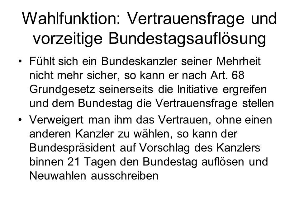 Wahlfunktion: Vertrauensfrage und vorzeitige Bundestagsauflösung Fühlt sich ein Bundeskanzler seiner Mehrheit nicht mehr sicher, so kann er nach Art.
