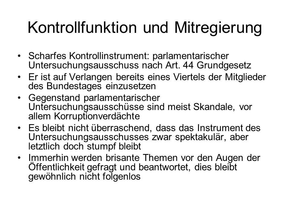 Kontrollfunktion und Mitregierung Scharfes Kontrollinstrument: parlamentarischer Untersuchungsausschuss nach Art.