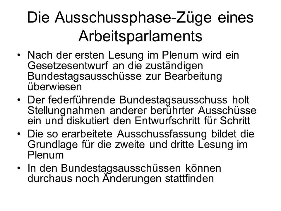 Die Ausschussphase-Züge eines Arbeitsparlaments Nach der ersten Lesung im Plenum wird ein Gesetzesentwurf an die zuständigen Bundestagsausschüsse zur Bearbeitung überwiesen Der federführende Bundestagsausschuss holt Stellungnahmen anderer berührter Ausschüsse ein und diskutiert den Entwurfschritt für Schritt Die so erarbeitete Ausschussfassung bildet die Grundlage für die zweite und dritte Lesung im Plenum In den Bundestagsausschüssen können durchaus noch Änderungen stattfinden