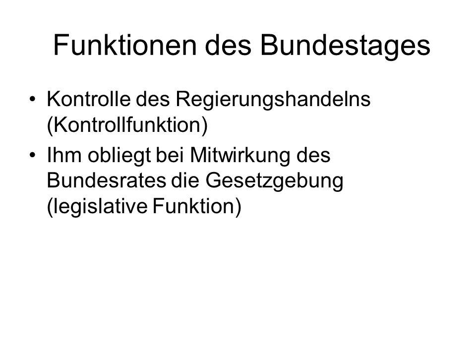 Funktionen des Bundestages Kontrolle des Regierungshandelns (Kontrollfunktion) Ihm obliegt bei Mitwirkung des Bundesrates die Gesetzgebung (legislative Funktion)