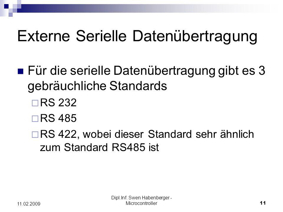 Dipl.Inf. Swen Habenberger - Microcontroller11 11.02.2009 Externe Serielle Datenübertragung Für die serielle Datenübertragung gibt es 3 gebräuchliche