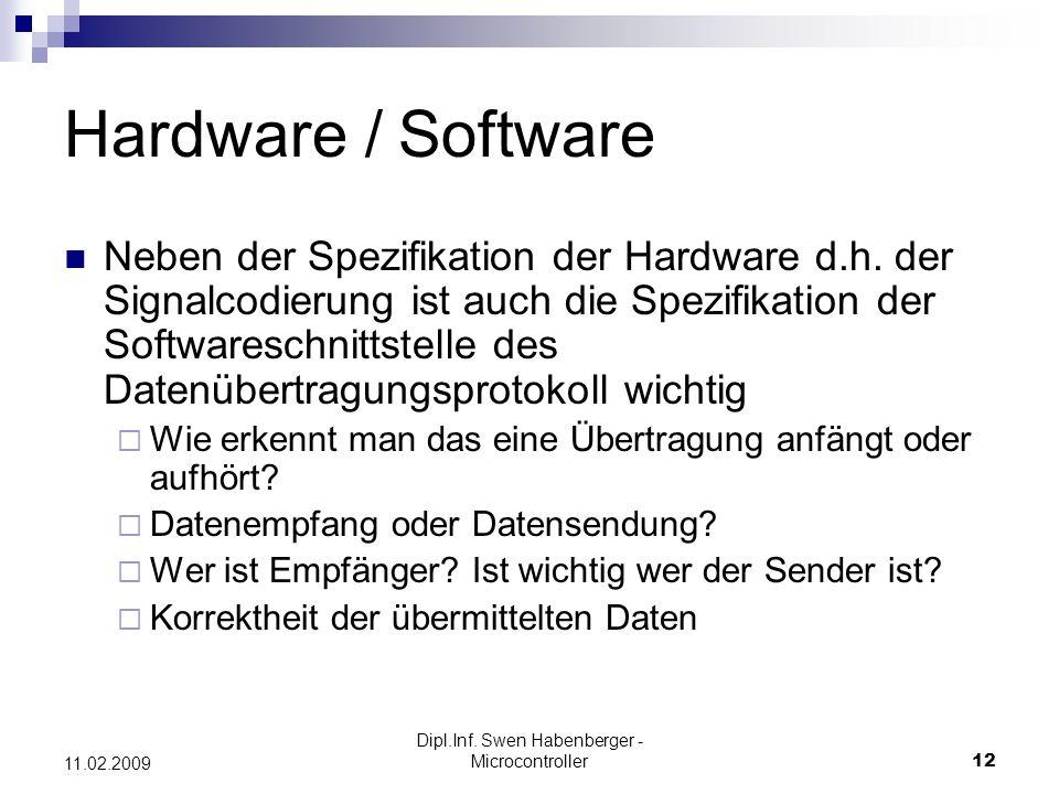 Dipl.Inf. Swen Habenberger - Microcontroller12 11.02.2009 Hardware / Software Neben der Spezifikation der Hardware d.h. der Signalcodierung ist auch d