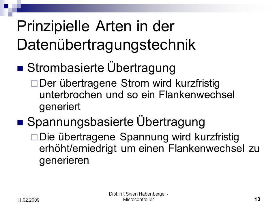 Dipl.Inf. Swen Habenberger - Microcontroller13 11.02.2009 Prinzipielle Arten in der Datenübertragungstechnik Strombasierte Übertragung Der übertragene