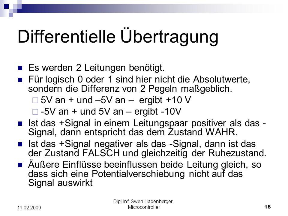 Dipl.Inf. Swen Habenberger - Microcontroller18 11.02.2009 Differentielle Übertragung Es werden 2 Leitungen benötigt. Für logisch 0 oder 1 sind hier ni
