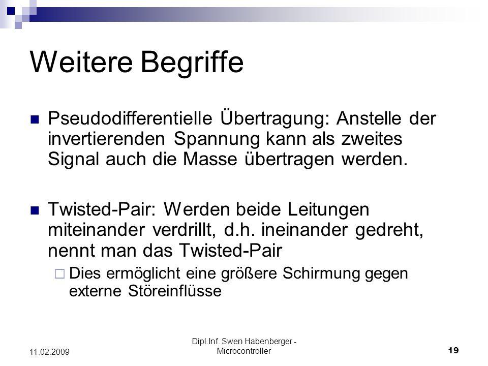 Dipl.Inf. Swen Habenberger - Microcontroller19 11.02.2009 Weitere Begriffe Pseudodifferentielle Übertragung: Anstelle der invertierenden Spannung kann