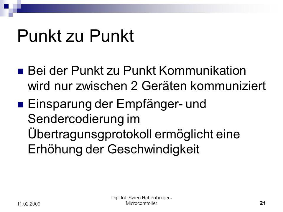 Dipl.Inf. Swen Habenberger - Microcontroller21 11.02.2009 Punkt zu Punkt Bei der Punkt zu Punkt Kommunikation wird nur zwischen 2 Geräten kommuniziert