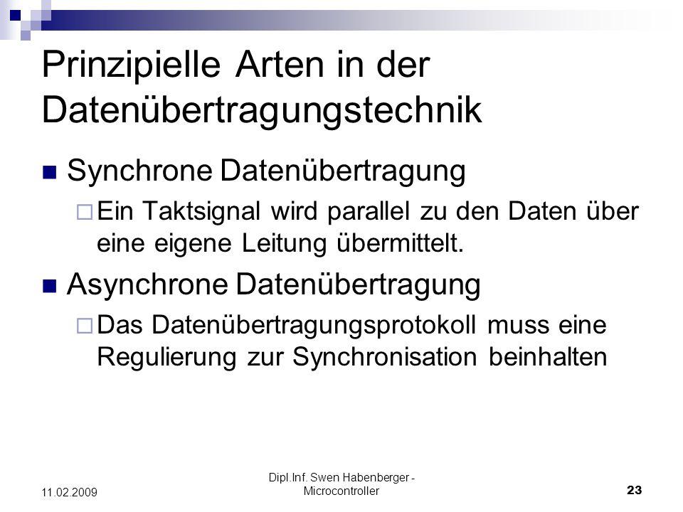 Dipl.Inf. Swen Habenberger - Microcontroller23 11.02.2009 Prinzipielle Arten in der Datenübertragungstechnik Synchrone Datenübertragung Ein Taktsignal