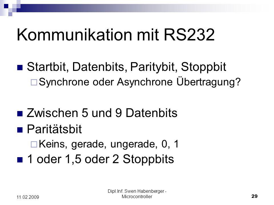 Dipl.Inf. Swen Habenberger - Microcontroller29 11.02.2009 Kommunikation mit RS232 Startbit, Datenbits, Paritybit, Stoppbit Synchrone oder Asynchrone Ü