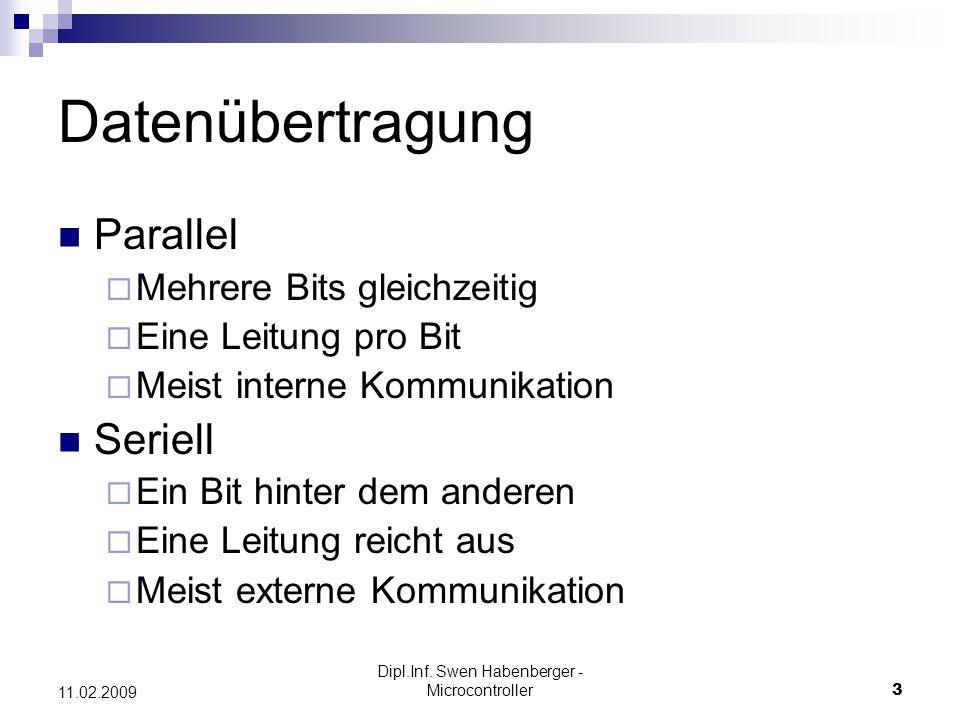 Dipl.Inf. Swen Habenberger - Microcontroller3 11.02.2009 Datenübertragung Parallel Mehrere Bits gleichzeitig Eine Leitung pro Bit Meist interne Kommun