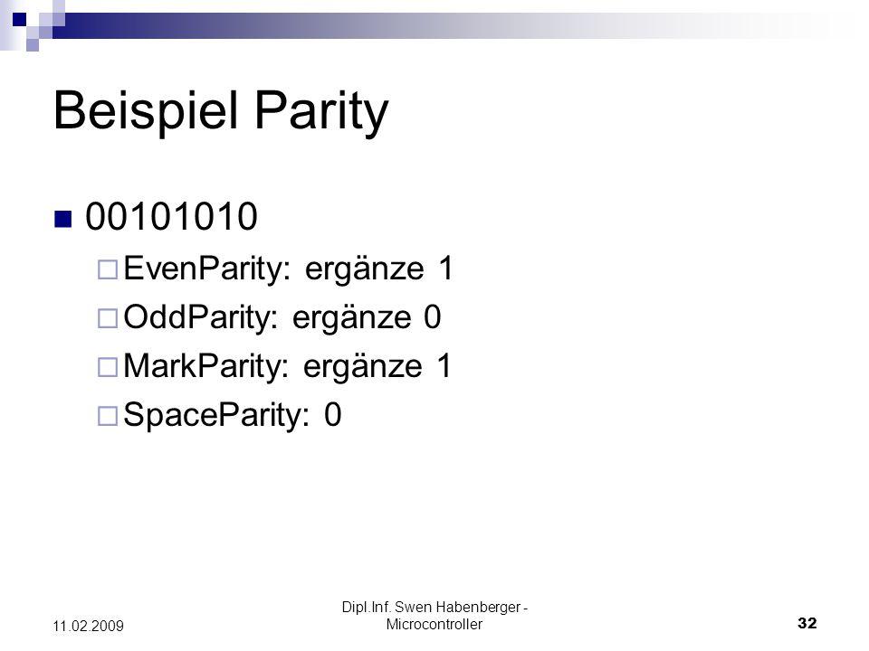 Dipl.Inf. Swen Habenberger - Microcontroller32 11.02.2009 Beispiel Parity 00101010 EvenParity: ergänze 1 OddParity: ergänze 0 MarkParity: ergänze 1 Sp