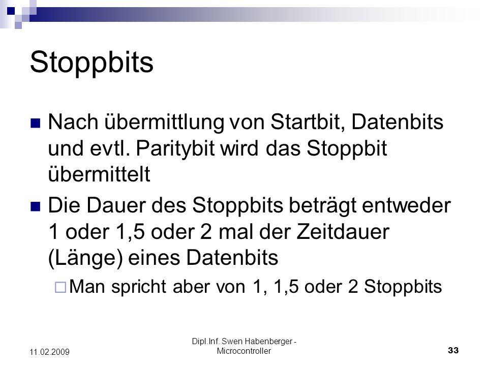 Dipl.Inf. Swen Habenberger - Microcontroller33 11.02.2009 Stoppbits Nach übermittlung von Startbit, Datenbits und evtl. Paritybit wird das Stoppbit üb